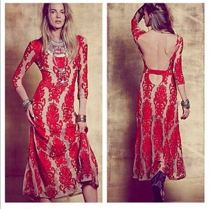 Bohemian red lace backless dress